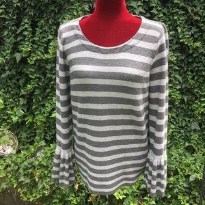 Valerie Stevens Striped Bell Wrist Sleeves Sweater